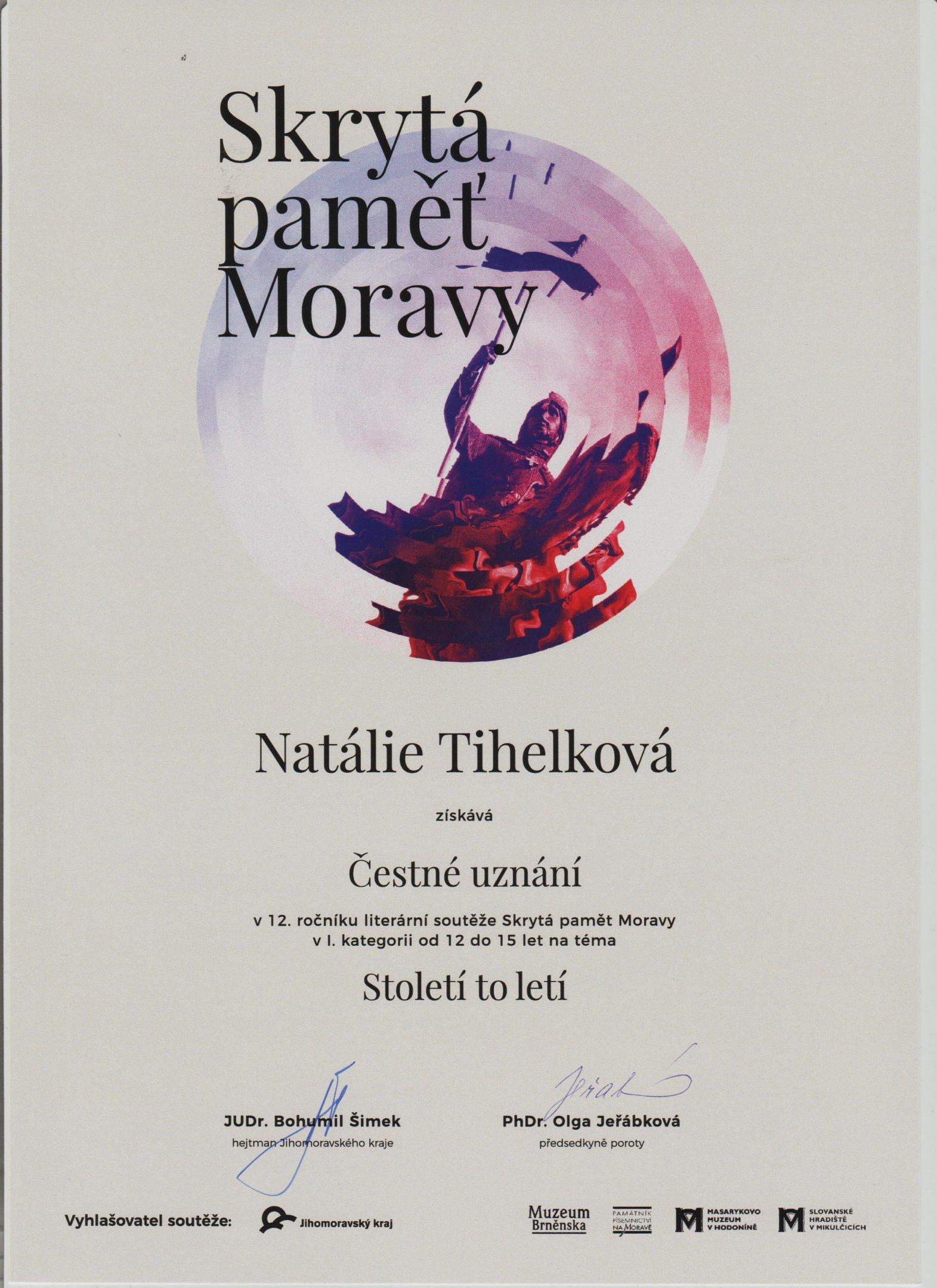 Čestné uznání - Natálie Tihelková